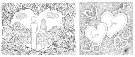 Couple hold each other hands and zen art of flowers and hearted shape for cards and coloring book, coloring page. Vector illustration