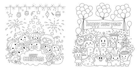 Cute monsters in Christmas and New year party for cards and coloring book, coloring page.Vector illustration Illustration