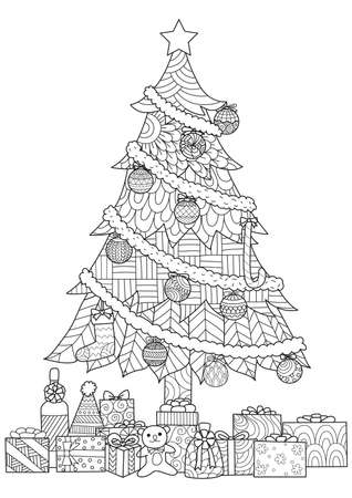 Christmas tree,presents and ornaments drawing for cards and coloring book,coloring page.Vector illustration 向量圖像