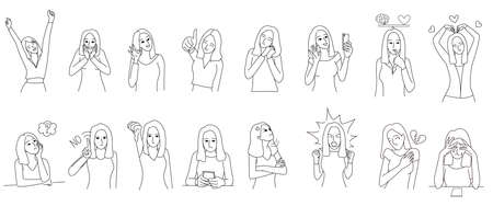 Set of woman character in deferent emotions. Borderline Personality Disorder, emotion controlling concepts. For illustration,presentation,story telling and coloring book. Иллюстрация