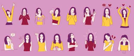 Conjunto de personaje de mujer en emociones deferentes. Trastorno límite de la personalidad, conceptos que controlan las emociones. Para ilustración, presentación, narración de cuentos y libro para colorear.