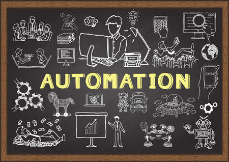 Hand drawn illustration about automation for presentation and web element. Stock Vector. Ilustração