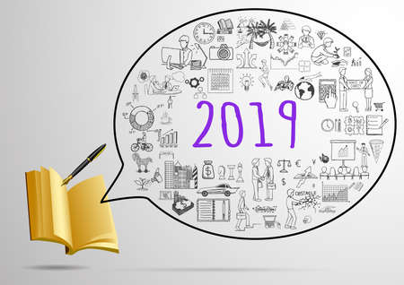 Year 2019 goals inside speech bubble with pen and opened notebook.Writing future plan concept.Vector illustration