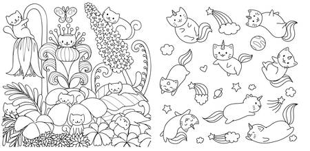 Hand drawn happy cats in floral forest in spring season and cats with unicorn horn flyingi in space, for design element and coloring book page. Vector illustration Illustration