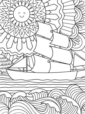 Happy Sun, seawave and ship for background and coloring book,coloring page for anti stress. Vector illustration