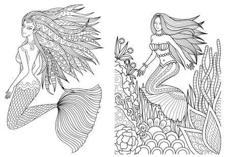 Schöne Meerjungfrauen, die unter dem Meer schwimmen, setzen für Malbuch für Erwachsene, Malvorlagen zum Ausmalen von Bildern Vektor-Illustration Vektorgrafik