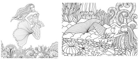 Mermaid swimming above beautiful flowers and the one sleeping on corals set, design for adult coloring book,coloring pages, colouring pictures. Vector illustration Ilustração