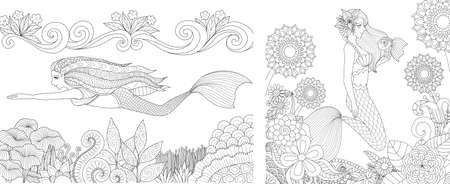 Pretty mermaid swimming above beautiful coral and playing with cute fish set for adult and kid coloring book, coloring pages, colour pictures. Vector illustration.  イラスト・ベクター素材