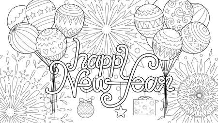 Line art of balloons pull typographic Happy New Year up to the sky with fireworks for coloring book,coloring page,colouring picture and cards. Vector illustration Ilustração