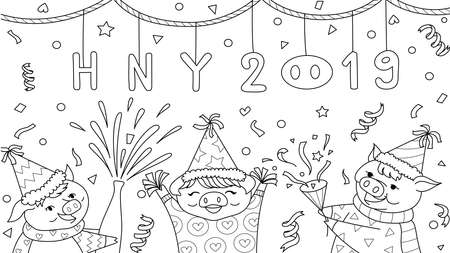 Cute three pigs celebrate New Year 2019 for design element and coloring book,coloring page,colouring pictures. Vector illustration Stock Illustratie