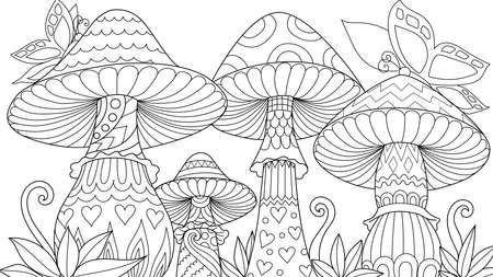 Simpatici tre funghi in primavera con farfalle per elemento di design e libro da colorare, pagina da colorare, immagine da colorare. Illustrazione vettoriale