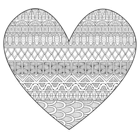Line art drawing in hearted shape for print and adult coloring page. Vector illustration 向量圖像