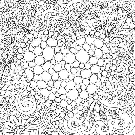 Line art design of tones arrange in hearted shape and surrounded by beautiful flowers and leaf for card, print on product,background and coloring book page for adult. Vector illustrations