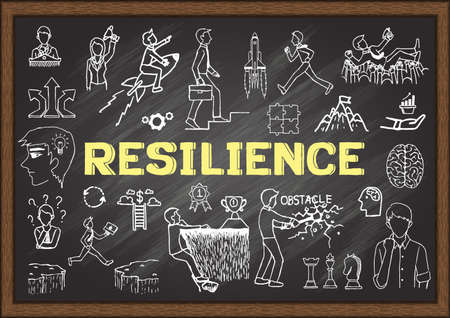 Hand drawn illustrations about Psychological resilience on chalkboard. Stock Vector