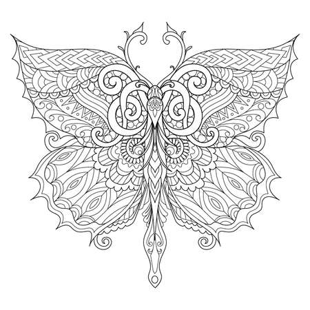 Beautiful butterfly for adult coloring book, coloring page, print on t shirt or other products. Vector illustration