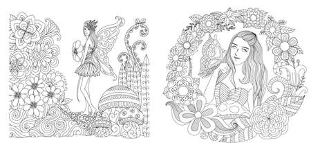 Fairy girls in garden collection for adult coloring page, printing and other design element. Vector illustration Archivio Fotografico - 119694921