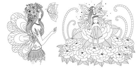 Fairy girls set for adult coloring book,coloring page,printing and other design element. Vector illustration Stock fotó - 119694924
