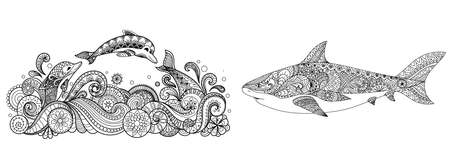 Three dolphins jumping into the sea and shark collection for adult coloring pages,t shirt design,print on product,tattoo and other design element. Vector illustration Ilustração
