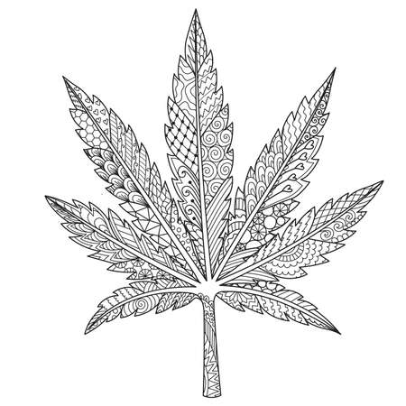 line art in Marijuana,cannabis leaf  or weed for adult coloring book,coloring page, print on product and other design element. Vector illustration