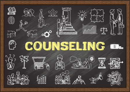 Hand drawn illustration about counseling on chalkboard. Stock vector Illustration