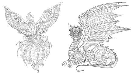 Set of Phoenix and dragon for design element and coloring page for adult. Vector illustration Illustration