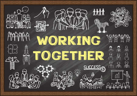 Hand drawn illustrations about working together on chalkboard. Stock Vector