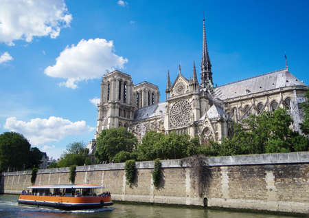 Notre Dame de Paris Cathedral, View from the River Seine. Paris, France. in June 2018