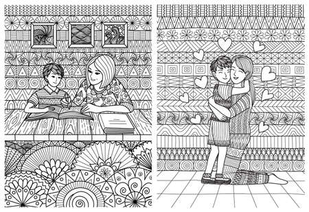 Lineart design of mom helping the son with homework and mother cuddle the son with love for happy mothers day card and coloring book. Vector illustration
