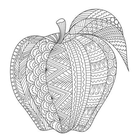 Arte de línea abstracta de manzana para libro de colorear para adultos, página para colorear, grabado, tatuaje, diseño de camiseta, etc. Ilustración vectorial