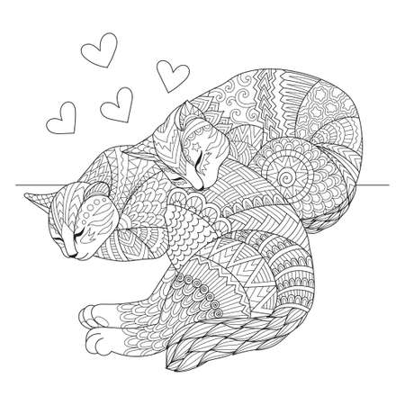 Cute two cats sleeping for cards, t shirt design, adult coloring book, coloring page and print on other things. Vector illustration 版權商用圖片 - 126197299