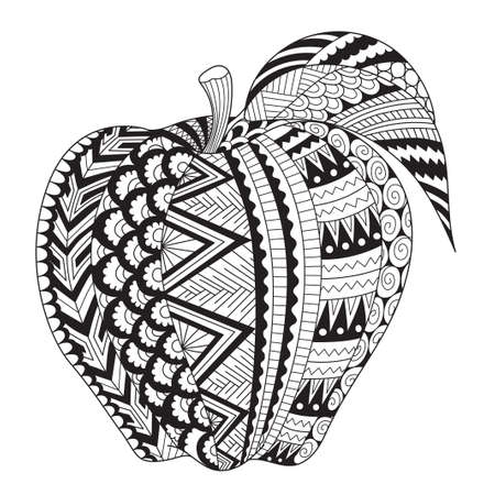 Abstract line art of apple for adult coloring book, coloring page, engraving, tattoo, t shirt design and so on. Vector illustration