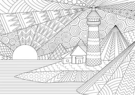 Coloring Page. Coloring Book for adults. Colouring pictures of light house among mountains, sunburst ocean and sea wave. Anti stress freehand sketch drawing with doodle and elements.