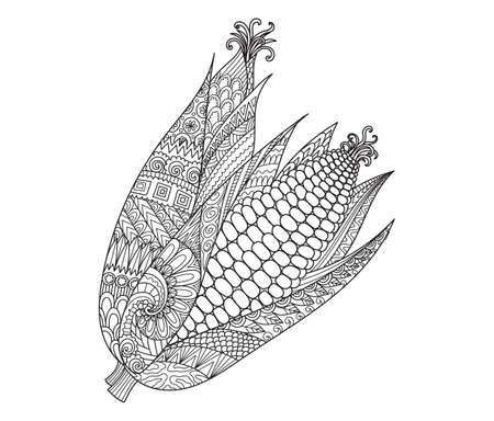 Abstract two corns for print on stuffs, adult coloring book, coloring page, engraving, logo, tattoo and other design element. Vector illustration