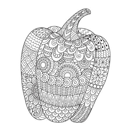 Line art design of sweet pepper for printing on stuffs and adult coloring book or coloring page. Vector illustration