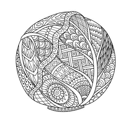 Line art drawing of cabbage for printing on stuffs and adult coloring book or coloring page. Vector illustration