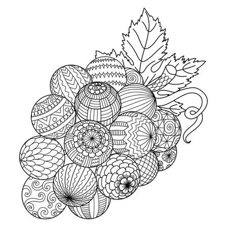 Line art of a bunch of grape for printing on stuffs and adult coloring book or coloring page. Vector illustration 矢量图像