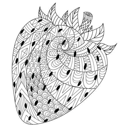 Line art drawing of strawberry for printing on stuffs and adult coloring book or coloring page. Vector illustration Stock Illustratie