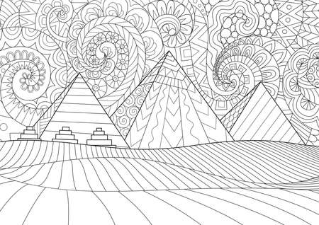 Line art Giza plateau landscape with egyptian pharaohs pyramids complex illuminated . Ancient historical, famous touristic attractions in african desert black and white drawing for design element and adult coloring book, or coloring page. Vector illustration Vettoriali