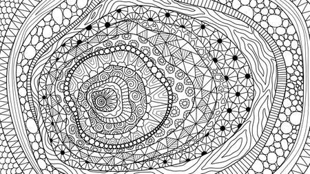 Line art abstract-inspired design for background, adult coloring book,coloring page and so on. Vector illustration
