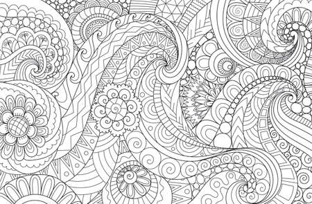 Line art of abstract scrolling wave for background and adult coloring book, coloring page for anti stress.Vector illustration