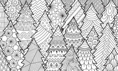 Line art of Christmas tree for background, adult coloring book, coloring page and print on product. Vector illustration Illustration