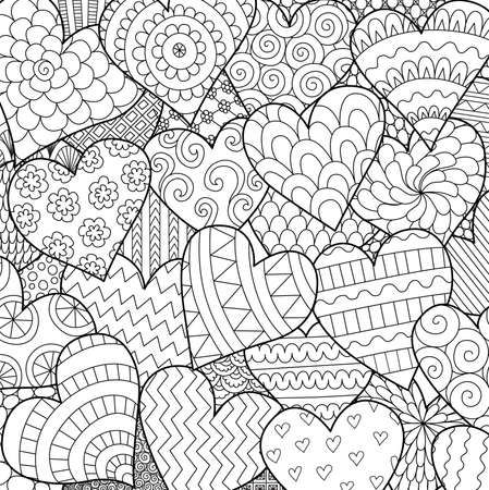 Line art of many hearts for background, Valentines cards, posters and adult coloring book page. Vector illustration