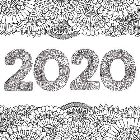 Line art drawing 2020 inside floral frame for printing on stuffs or adult coloring book, coloring page and other design element. Vector illustration