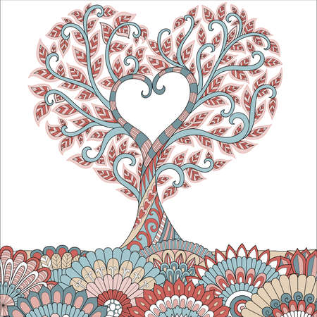 Colorful heart shape tree for cards and other design element