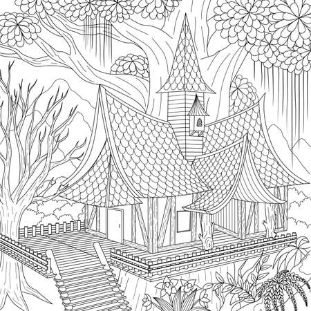 Haunted house in the jungle, Happy Halloween Theme for printing coloring book, laser cut and so on. Vector illustration