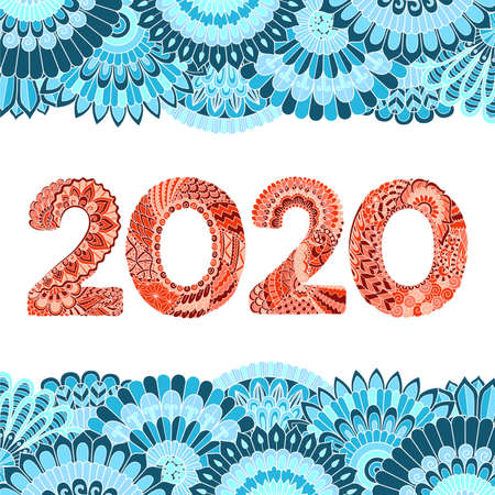 Colorful Zen mandala floral frames and year number 2020. Happy New year concept for design element. Stock Vector Illustration