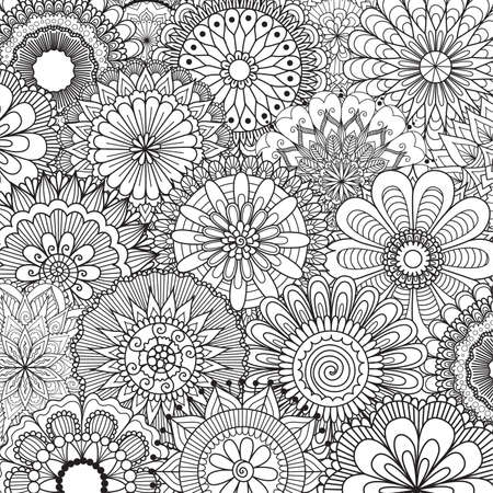 Line art of beautiful mandalas in black and white for background and printing, adult coloring book and so on. Vector illustration