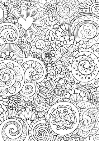 Flowers and leaves for background, coloring page, and print on product. Vector illustration