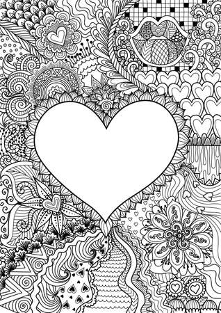 empty hearted shape for copy space surrounded by beautiful flowers for printing, card, invitation, coloring book, coloring page and colouring picture. Vector illustration Illustration