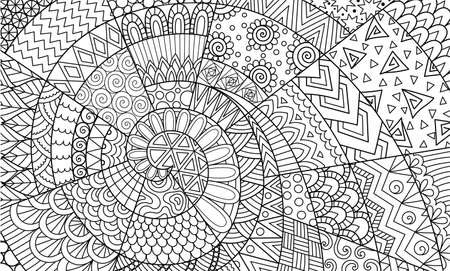 Abstract line art for background, wall decoration, engraving, adult coloring book,coloring page and other design element. Vector illustrations. Illustration